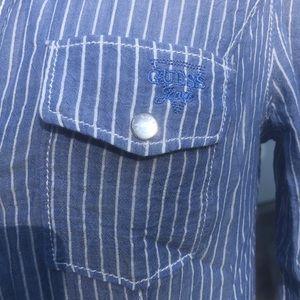 Flirty Guess Striped Dress Shirt w/ Lace Details